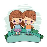 Color picture couple kawaii kids girl cryin and boy excited taken hands in forest. Vector illustration Royalty Free Stock Images