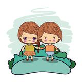 Color picture couple kawaii kids taken hands in forest. Vector illustration vector illustration