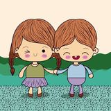 Color picture couple kawaii kids taken hands in grass. Vector illustration vector illustration