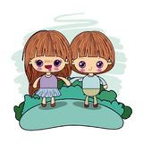 Color picture couple kawaii in love kids taken hands in forest. Vector illustration stock illustration