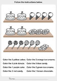Color the picture - desserts on the shelf. Worksheet for education royalty free illustration