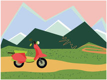 Image moped and mountains Stock Image
