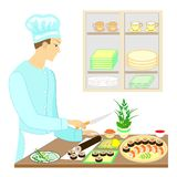 Color picture. A man cook, he prepares delicious dishes of Japanese national cuisine. He cuts knives. On the table on a beautiful. Dish, seafood, sushi, rolls vector illustration