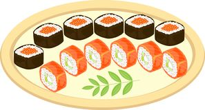Color picture. Refined dishes of Japanese national cuisine. On a beautifully served dish are seafood, sushi, rolls, caviar, rice, stock illustration