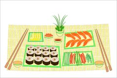 Color picture. Refined dishes of Japanese national cuisine. On the table for a delicious seafood, sushi, rolls, caviar. Vector royalty free illustration