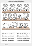 Color the picture - stuffed animals on the shelf. Worksheet for education stock illustration
