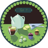 Color picture with tea and cakes Royalty Free Stock Photo