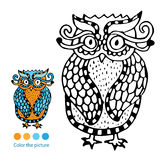 Color the picture - vivid owl illustration stock photography