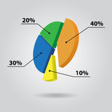 Color pie chart with text. Pie chart with four color columns and text Stock Photography