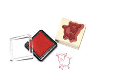 Color pig stamp Royalty Free Stock Photos