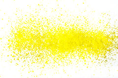 Color pigment sprinkles on white paper. Sprinkles of paint color pigments on white paper Royalty Free Stock Photography