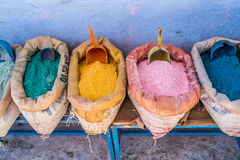 Color pigments. In the blue medina of Chefchaouen, Morocco Royalty Free Stock Images