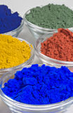 Color pigments in glass  bowls. Color pigments in glass bowls Stock Photo