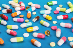 Color pills pharmaceutical medicine and capsules Stock Images