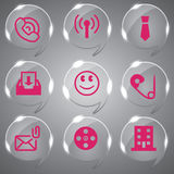 Color Pink Glass icons Set Royalty Free Stock Image