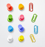 Color pins and clips Royalty Free Stock Images
