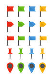 Color pins and flags Royalty Free Stock Image