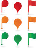 Color pins and flags collection . Vector Stock Image