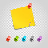 Color pins and paperclip isolated on transparent Stock Image