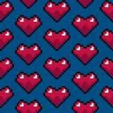 Color Pixel Heart Games Seamless Pattern Background. Vector. Illustration of Pixelated Icon royalty free illustration