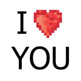5 color pixel heart. Vector. Illustration Royalty Free Stock Photo