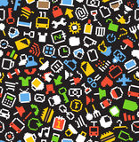 Color pixel icons seamless background Royalty Free Stock Photography