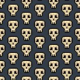 Color Pixel Skull Games Seamless Pattern Background. Vector. Color Pixel Skull Games Seamless Pattern Background on a Grey. Vector illustration of Pixelated Icon stock illustration