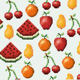 Color pixelated pattern set collection fruits icons. Vector illustration stock illustration