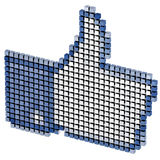 Color pixeled thumbs up internet symbol isolated Stock Photography