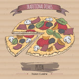 Color pizza sketch placed on cardboard background. Italian cuisine. Traditional dishes series. Great for market, restaurant, cafe, food label design Royalty Free Stock Photos