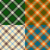 Color plaid patterns set. Four color variations Royalty Free Stock Images