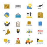 Color plano de los iconos de la logística Imagen de archivo