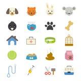 Color plano de los iconos del animal doméstico Fotos de archivo