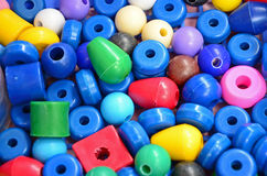 Color plastic beads. Color plastic bead collection for children Royalty Free Stock Images