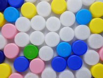 Color plastic bottle caps Royalty Free Stock Photography
