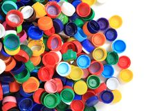 Color plastic caps from pet bottles Stock Photography