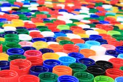 Color plastic caps from pet bottles Royalty Free Stock Image