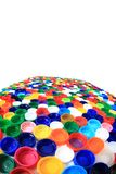 Color plastic caps from pet bottles Stock Photo