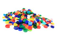 Color plastic caps from pet bottles Royalty Free Stock Photo