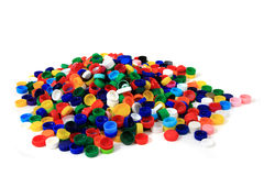 Color plastic caps (from PET) Royalty Free Stock Images
