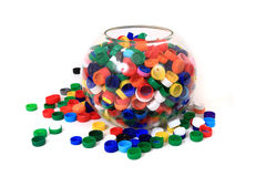Color plastic caps (from PET) Royalty Free Stock Image