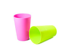 Color plastic mug Royalty Free Stock Images