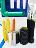 Color plastic pipes for industrial water supply. And heating mains royalty free stock photos