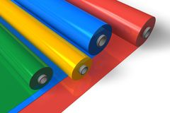 Color plastic rolls. Isolated over white background vector illustration