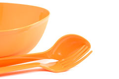 Color plastic tableware Stock Image