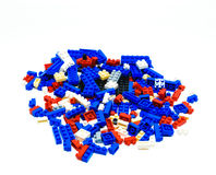 Color plastic toy bricks. Royalty Free Stock Image