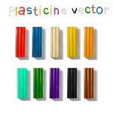 Color plasticine set isolated on a white background. 3d Vector illustration. Royalty Free Stock Images