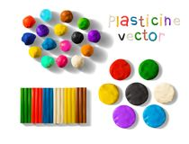 Color plasticine set isolated on a white background. 3d Vector illustration. Color plasticine set isolated on a white background. Modeling Clay balls, bricks Royalty Free Stock Photography