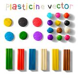 Color plasticine set isolated on a white background. 3d Vector illustration. Royalty Free Stock Photos