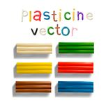 Color plasticine set on a white background. 3d Vector illustration. Color plasticine brick set on a white background. Modeling Clay. 3d Vector illustration Vector Illustration